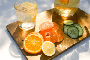Sliced citrus fruit and water
